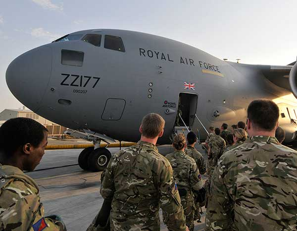 Troops Board RAF C17 Transport Aircraft enroute to Afghanistan