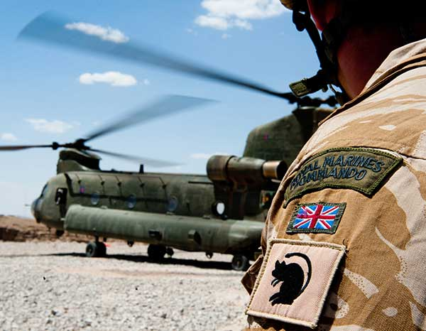 Royal Marine with Chinook