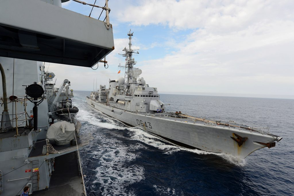 French warship Jean de Vienne approaches Type 23 frigate HMS Northumberland during a replenishment at sea between the two vessels Exercise Corsican Lion was conducted in the Mediterranean where British and French warships exercised as part of a joint task group.