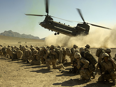 Royal Marines waiting for Chinook to land