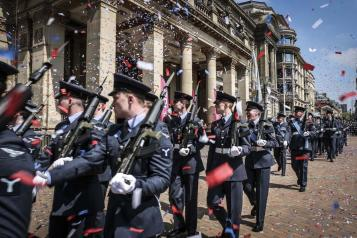Royal Air Force Cosford marching past Birmingham Council house to exercise their Freedom of the City of Birmingham