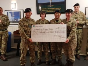 48 Signal Squadron with cheque for Gurkha Welfare Trust