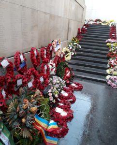 Row of wreaths laid at Menin Gate