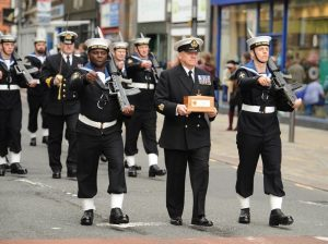 Steve Bland parading the scroll in Freedom of the City