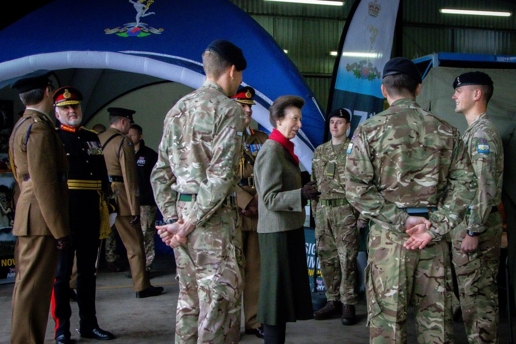 HRH receiving a brief on Trade Training by Officer Cadet Holmes