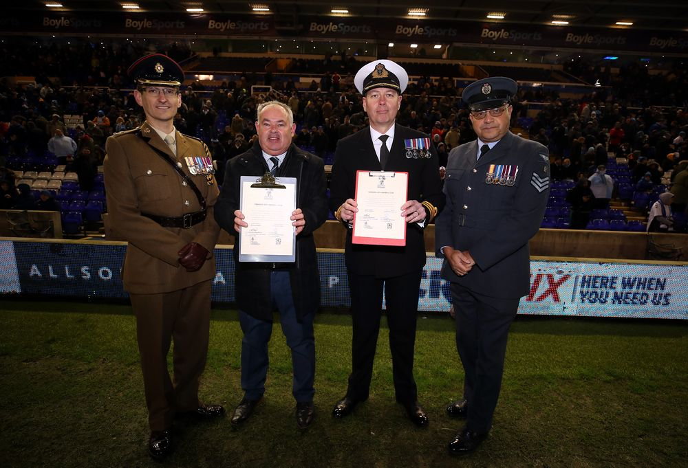 Army, Navy and RAF support Coventry City FC signing the Armed Forces Covenant