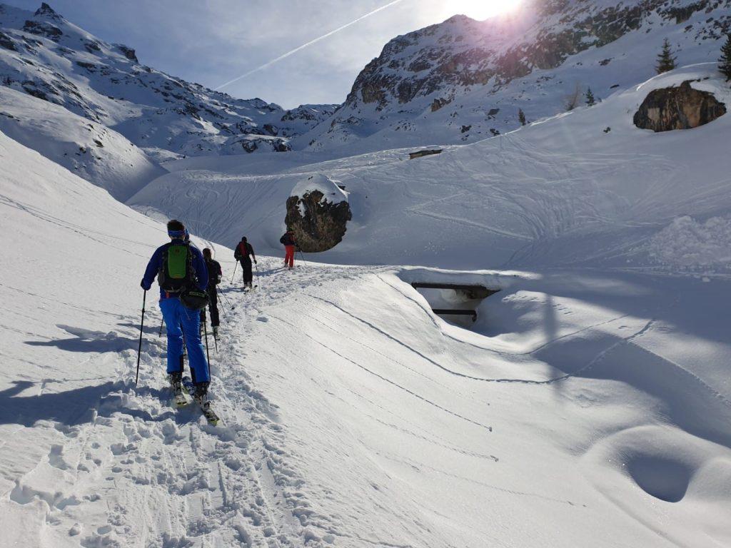Trekking across the slopes for Ski Foundation Level 2