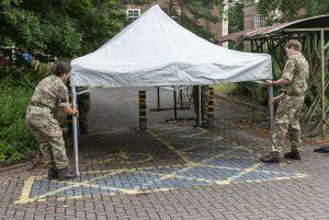 Setting up a gazebo in advance of testing training