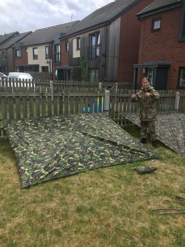Hereford & Worcester Army Cadet Force cadet is pleased with her shelter!