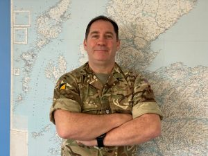 Major Gary Bilsbarrow, an Army reservist also from WMG, University of Warwick, in military uniform.