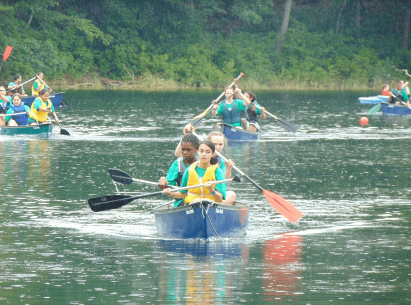 TS Stirling Sea Cadets take part in canoeing during their expedition to the USA