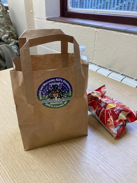 Christmas lunch came in a paper bag this year for their cadets!