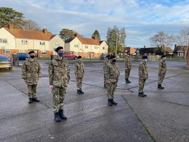 Army Cadets stand on parade in a Covid-19 secure distance
