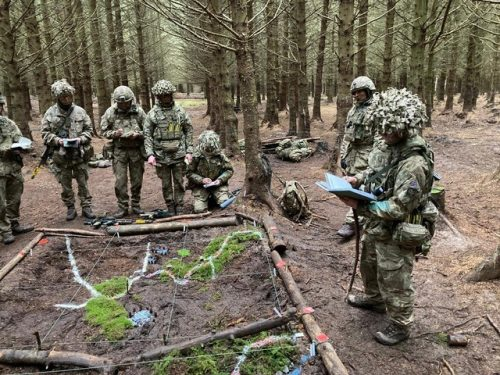 Army Reservists practice their skills in Northumberland.