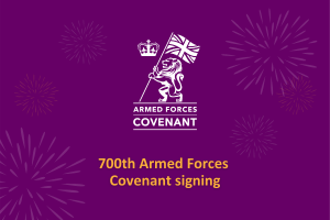 Armed Forces Covenant Infographic with fireworks