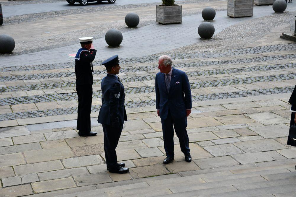 Lord-Lieutenant's Cadet, Cadet Sergeant Zain Aslam, greeting HRH The Prince of Wales