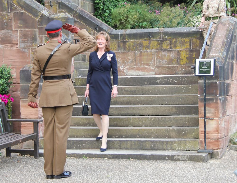 Shropshire Lord-Lieutenant, Anna Turner, is formally greeted at the start of the ceremony by a saluting member of Shropshire Army Cadet Force