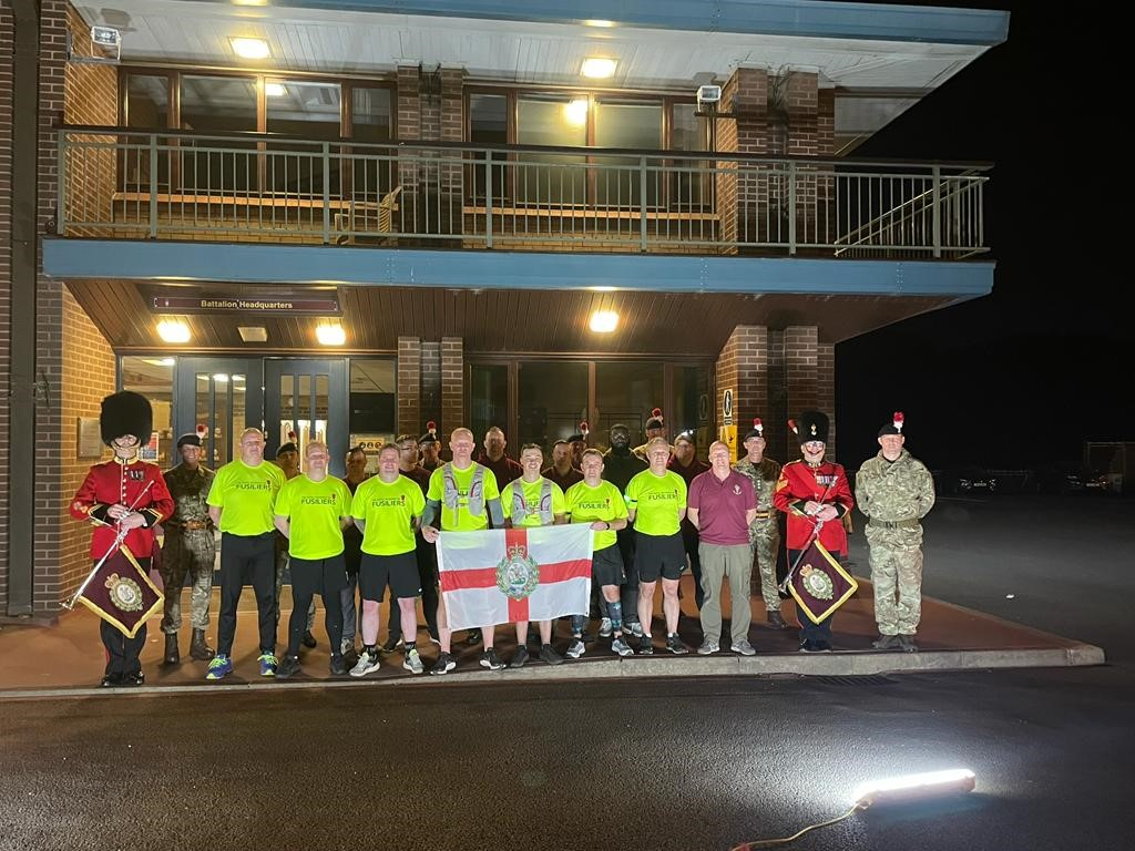 The 'Running Fusiliers' reach their end destination at 5RRF's HQ at 21:00 hours